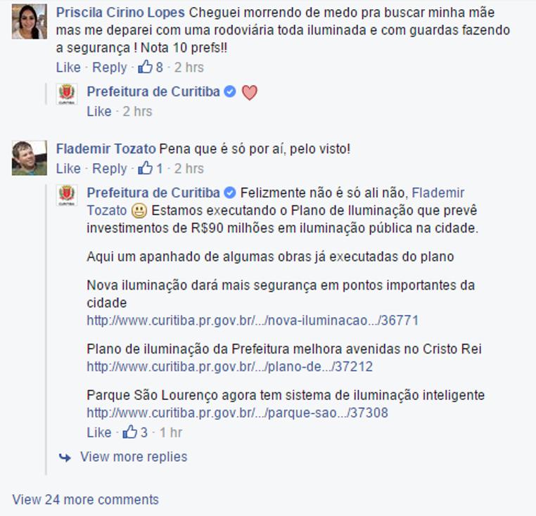 Veja como a página da Prefeitura de Curitiba faz um trabalho legal de interação com os fãs.